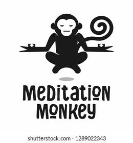 Meditation yoga chill relaxing monkey medical logo