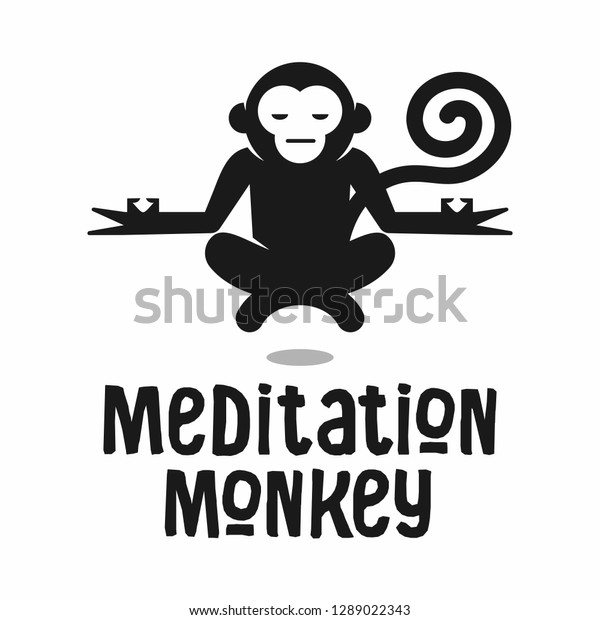 Meditation Yoga Chill Relaxing Monkey Medical Stock Vector Royalty Free 1289022343