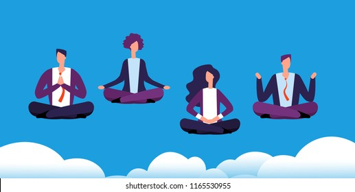 Meditation yoga group. Business team relaxing and meditating in lotus pose. Office workers avoid stress. Vector concept meditation businessman, illustration cartoon relax worker