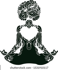 Meditation yoga lady abstract ornaments silhouette