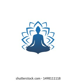Meditation yoga Logo design vector