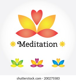 Meditation Yoga sign, lotus flower in different colors with heart. Modern vector illustration and design element