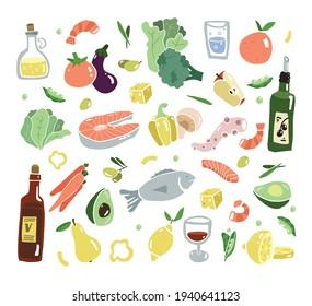 Mediterran food flat set. South Europa diet. Mediterranen healthy lifestyle. Seafood and vegetables. Flat design food elements. Vector illustration.