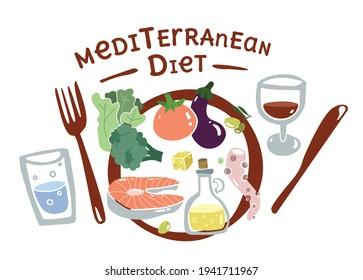 Mediterran food plate. Flat concept set. South Europa diet. Mediterranen healthy lifestyle. Seafood and vegetables. Flat design food elements. Vector illustration