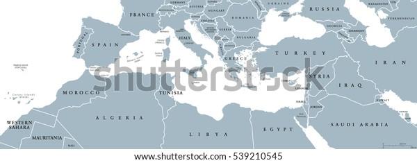 地中海盆地の政治地図。地中海地方、また地中海。地中海周辺に着陸。南 ...