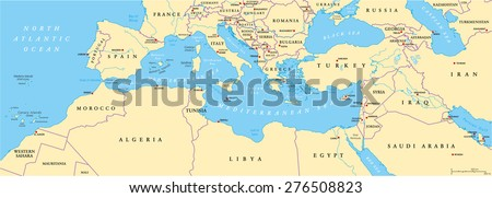 Mediterranean Basin Political Map South Europe Stock Vector Royalty