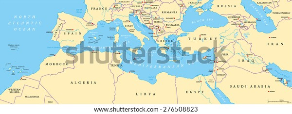 Mediterranean Basin Political Map South Europe | Royalty ...
