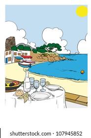 Mediterranean beach tourism vacation sun & sea & food