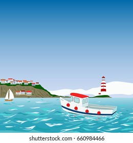 Mediterranean coast with town, ligthouse, motorboat, yacht vector illustration