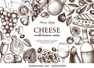 Mediterranean cuisine design. Hand sket food and drinks illustrations. Vintage cheese, fruits, vegetables, wine drawings. Dairy products frame on white background. Restautant menu template.
