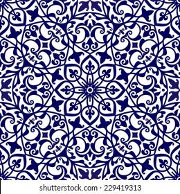 Mediterranean floral ornament, oriental seamless pattern, tile design, vector illustration