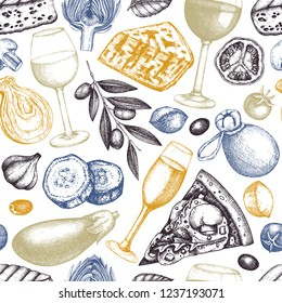 Mediterranean food and drinks background. Vector menu design. Hand drawn cheese, fruits, vegetables, wine illustrations. Vintage restaurant seamless pattern.