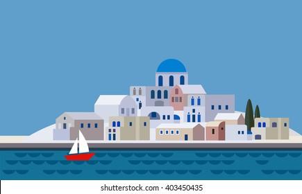 Mediterranean landscape by sea. Greek island with little town, village, resort, beach. Travel, holiday, tourism concept. Flat design, vector illustration.
