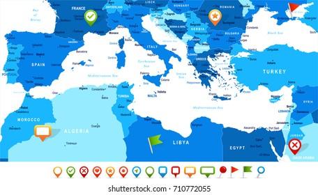 Mediterranean Map Images, Stock Photos & Vectors | Shutterstock