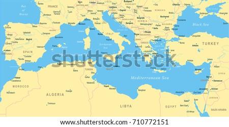 Mediterranean Sea Map Detailed Vector Illustration Stock ...