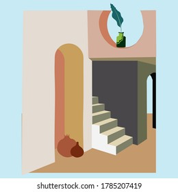 Mediterranean structure, dwelling, house. Elements of architecture and interior design. The southern landscape. Flat vector illustration