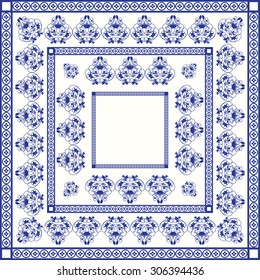 Mediterranean traditional blue and white tile pattern. Oriental arabesque ceramic tile with squares and swirls.