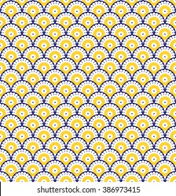 Mediterranean traditional floral decor, citrus seamless pattern, vintage background, vector