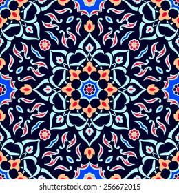 Mediterranean traditional floral decor, eastern seamless pattern, vintage background, vector