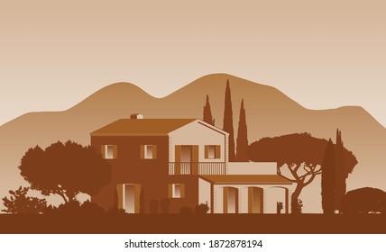 Mediterrane Vektorclip Art Finca Startseite umgeben von Bäumen und Landschaft mit Bergen im Hintergrund