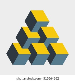 Medium penrose triangle constructed of six blocks. Isometric cubes for 3d designing. Mathematical object with mental trick. Optical illusion of brain. Symbol with three-dimensional effect. Imp art.