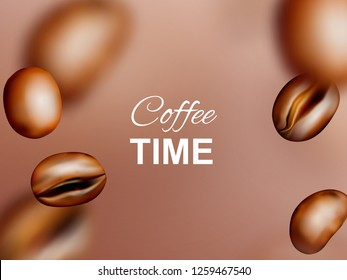 Medium Roasted Arabica and Robusta Coffee Beans Background. Realistic 3d Vector Pattern of Flying Coffe Grains with Place for Text