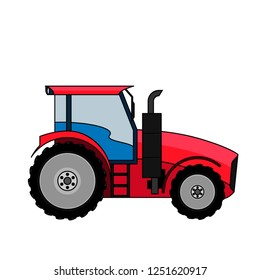 Medium sized tractor.  Flat style vector illustration of a tractor isolated. Heavy agricultural machinery for field work