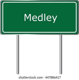 Medley , Florida, road sign green vector illustration, road table, USA city