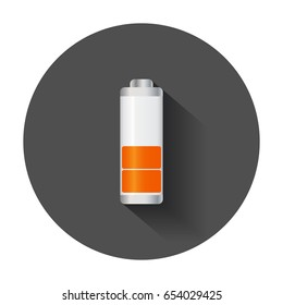 Meduim level battery charge level indicator. Vector illustration with long shadow.