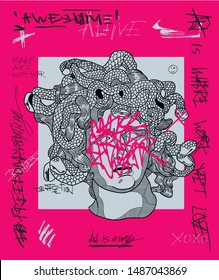 Medusa by Bernini. Crazy pink calligraphy.Vector hand drawn illustration.