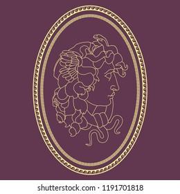 Medusa Gorgon Antique. Vector illustration of the head of the Medusa Gorgon in an oval Roman frame.