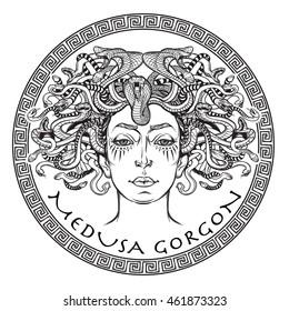 Medusa Gorgon BW sketch