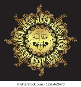 Medusa Gorgon golden head in flame hand drawn line art and dot work print design isolated vector illustration. Gorgoneion is a protective amulet