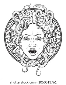 Medusa Gorgon head on a shield hand drawn line art and dot work tattoo or print design isolated vector illustration. Gorgoneion is a protective amulet