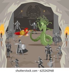 medusa gorgon monster mytology creature fighting against perseus greek warrior hero in cave lair with stone statues