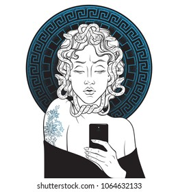 Medusa Gorgon selfie hand drawn line art and dot work pop print design isolated vector illustration