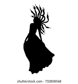 Medusa Gorgon silhouette ancient mythology fantasy. Vector illustration.