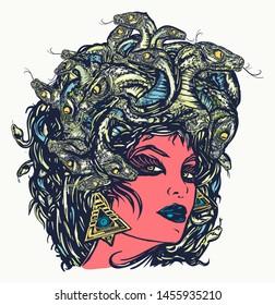 Medusa Gorgon woman head with snakes, color tattoo and t-shirt design. Portrait mythological figure Medusa. Myths of Ancient Greece