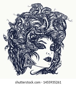 Medusa Gorgon woman head with snakes, tattoo and t-shirt design. Portrait mythological figure Medusa. Myths of Ancient Greece