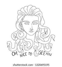 medusa gorgona 'nice to see you' t-shirt poster sticker fashion print