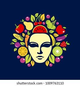 Medusa head with fruit and vegetables inside design inspiration