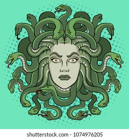 Medusa head with snakes greek myth creature pop art retro vector illustration. Comic book style imitation.