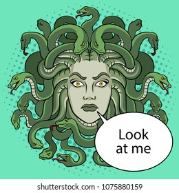 Medusa head with snakes greek myth creature pop art retro vector illustration. Color background. Text bubble. Comic book style imitation.
