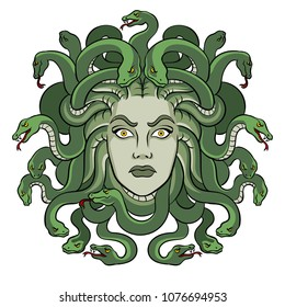 Medusa head with snakes greek myth creature pop art retro vector illustration. Isolated image on white background. Comic book style imitation.