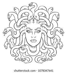 Medusa head with snakes greek myth creature coloring vector illustration. Comic book style imitation.