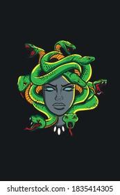 Medusa head with snakes greek myth creature pop art retro vector illustration