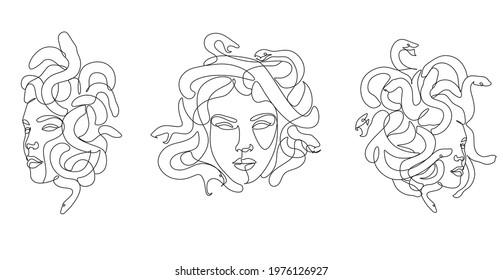 Medusa head with snakes greek myth creature coloring vector illustration. Line art minimalist abstract woman head. Snakes hair Goddess