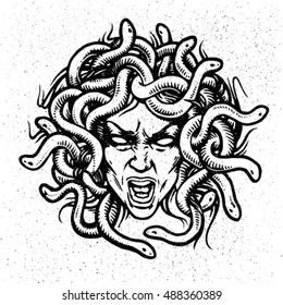 Medusa head vector emblem.