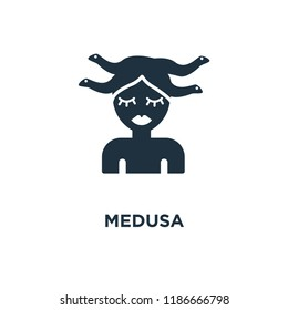 Medusa icon. Black filled vector illustration. Medusa symbol on white background. Can be used in web and mobile.