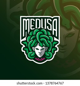 medusa mascot logo design vector with modern illustration concept style for badge, emblem and t shirt printing. angry medusa illustration with snake in the head.